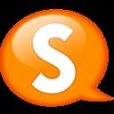 128x128px size png icon of Speech balloon orange s
