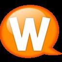128x128px size png icon of Speech balloon orange w