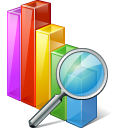 128x128px size png icon of chart search