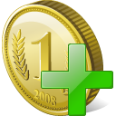 128x128px size png icon of coin add