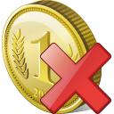 128x128px size png icon of coin delete