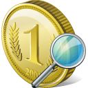 128x128px size png icon of coin search