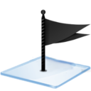 128x128px size png icon of Windows 7 flag black