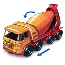 128x128px size png icon of Foden Concrete Truck with Movement