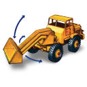 128x128px size png icon of Hatra Tractor Shovel with Movement