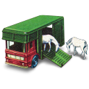 128x128px size png icon of Horse Box with Two Horses