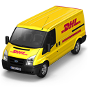 128x128px size png icon of DHL Van Front