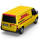 128x128px size png icon of DHL Van Back