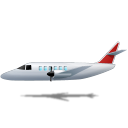 128x128px size png icon of Airplane Left Red
