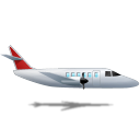 128x128px size png icon of Airplane Right Red