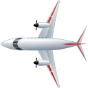 128x128px size png icon of Airplane Top Red