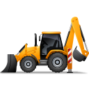 128x128px size png icon of BackhoeLoader Left Yellow