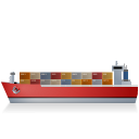 128x128px size png icon of Container Ship Left Red