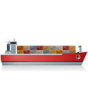 128x128px size png icon of Container Ship Right Red