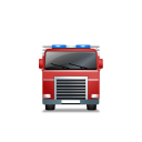 128x128px size png icon of Fire Truck Front Red
