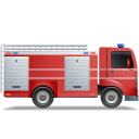 128x128px size png icon of Fire Truck Right Red
