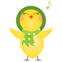 256x256px size png icon of singing chicken