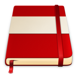 256x256px size png icon of moleskine red white 512