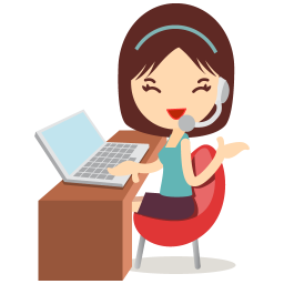 256x256px size png icon of callcenter girls blue