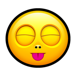 256x256px size png icon of Smiley stick tongue