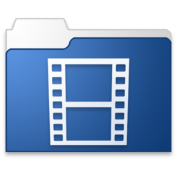 256x256px size png icon of movies blue