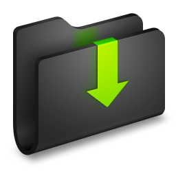 256x256px size png icon of Downloads Black Folder