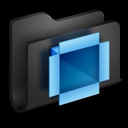 256x256px size png icon of Dropbox Black Folder