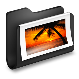 256x256px size png icon of Photos Black Folder