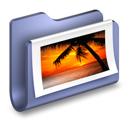 256x256px size png icon of Photos Blue Folder