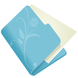 256x256px size png icon of folder flower blue