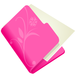 256x256px size png icon of folder flower pink