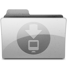 256x256px size png icon of downloads Grey