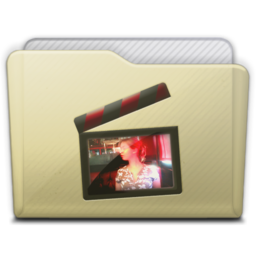 256x256px size png icon of beige folder movies alt