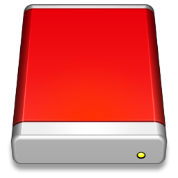 256x256px size png icon of External Drive Red