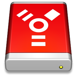 256x256px size png icon of Firewire Drive Red