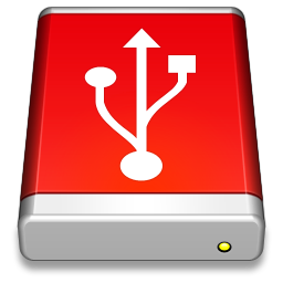 256x256px size png icon of USB Drive Red
