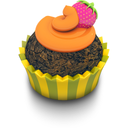 256x256px size png icon of Chocolate Orange Cupcake
