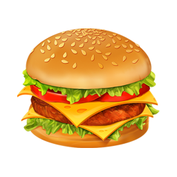 256x256px size png icon of hamburger