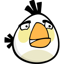 256x256px size png icon of angry bird white