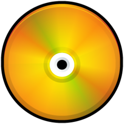 256x256px size png icon of CD Colored Orange