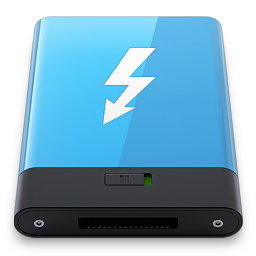 256x256px size png icon of Blue Thunderbolt W