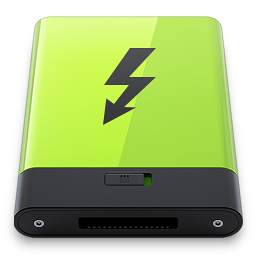 256x256px size png icon of Green Thunderbolt