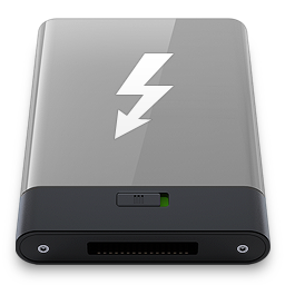 256x256px size png icon of grey thunderbolt w