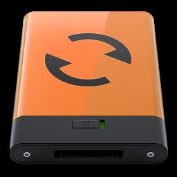 256x256px size png icon of orange sync b