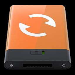 256x256px size png icon of orange sync w