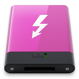 256x256px size png icon of pink thunderbolt w