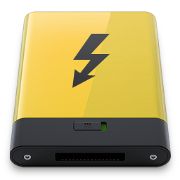 256x256px size png icon of yellow thunderbolt