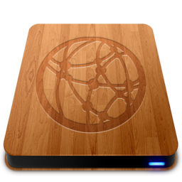 256x256px size png icon of Wooden Slick Drives   Server