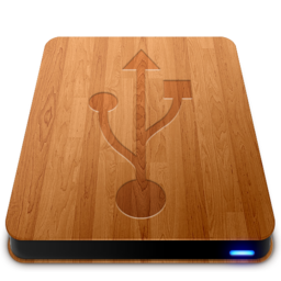 256x256px size png icon of Wooden Slick Drives   USB