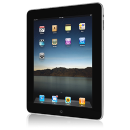 256x256px size png icon of iPad front askew right